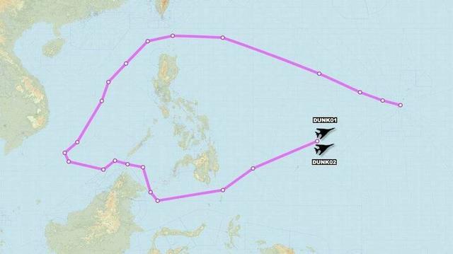 途经台湾南部空域,美国空军2架B-1B轰炸机绕行南海一圈