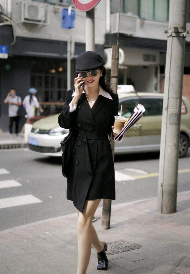 初秋怎么穿才精致?黑色西装裙配白色衬衫,干练又不乏时尚感-第2张