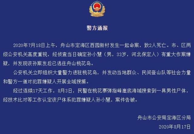 浙江发生一起命案致两人死亡,嫌犯在桃花岛一处海域被找到www.smxdc.net
