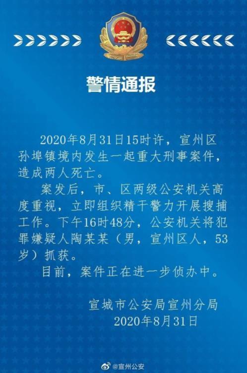 宣城发生一起致2人死亡重大刑事案件 嫌犯已被抓获www.smxdc.net