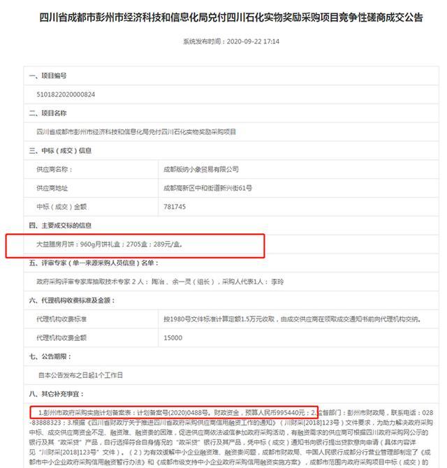 四川彭州一政府部门78万采购月饼,回应:合理合法【www.smxdc.net】 全球新闻风头榜 第1张