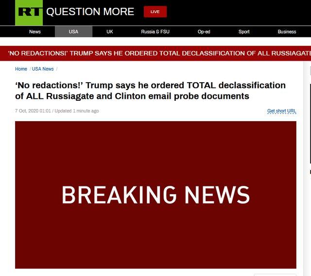 """快讯!特朗普发推:已下令彻底解密所有涉及""""通俄门""""和希拉里""""邮件门""""的调查文件【www.smxdc.net】"""