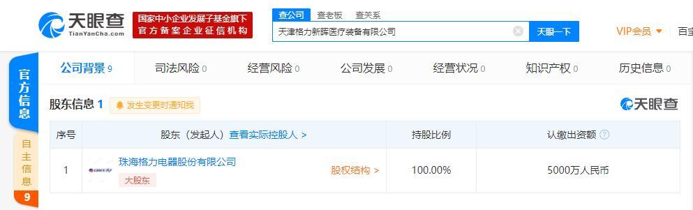 珠海格力电器股份有限公司在天津成立医疗装备公司 法定代表人为董明珠