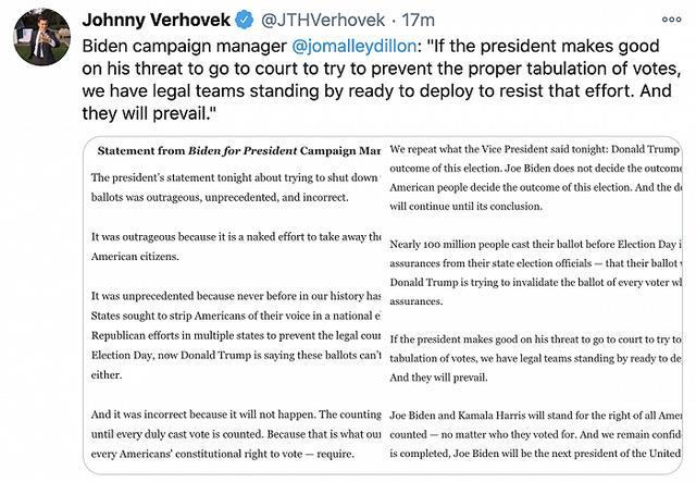 """特朗普呼吁""""停止计票"""",拜登竞选团队:这是在赤裸裸剥夺民主权利 全球新闻风头榜 第1张"""
