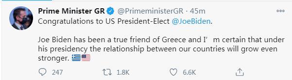 刚刚,希腊总理祝贺拜登:相信在他的任期内,两国关系会更巩固