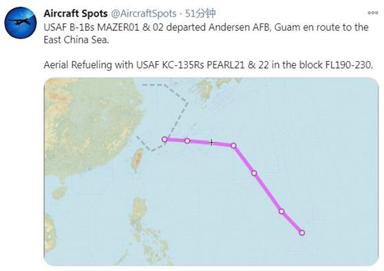 最新!美军两架B-1B轰炸机被曝现身东海上空