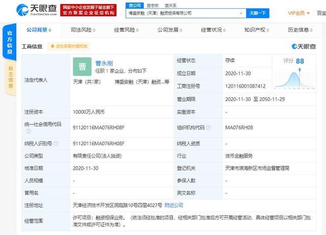 国美关联公司在天津成立融资担保子公司,注册资本1亿人民币