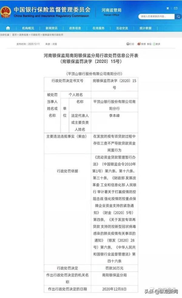 平顶山银行南阳分行被行政处罚30万元插图