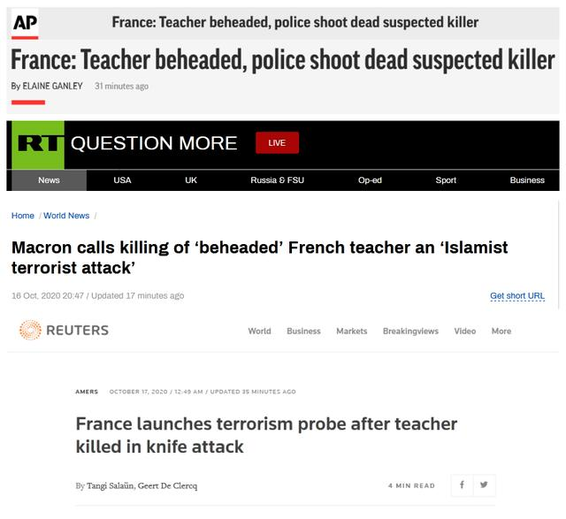"""突发!法国巴黎一老师被""""斩首"""",马克龙:这是""""伊斯兰恐怖袭击"""""""