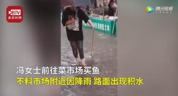女子雨中遛鱼回家还蒸了吃 网友:谁能想到有一天能在大马路上遛一条鱼