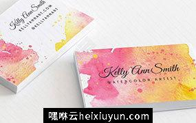 水彩艺术名片模板 Watercolor Artist Business Card Template