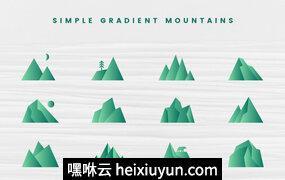 简约山峰矢量图案设计素材Simple Gradient Mountains