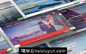 网页网站展示贴图PSD模板Perspective Presentation Web Mockup