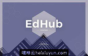 一款紫色现代且非常实用基于Sketch的响应式全站页面网页模板EdHub