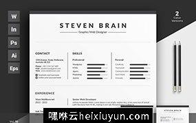 优雅简约的商务简历名片多格式通用模板素材 Resume/CV Vol.15