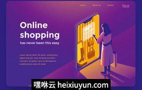 2.5D三维等距设计女子使用智能手机在线购物着陆页模版 1046217532