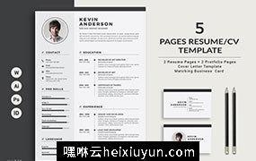 高端设计师视觉工作者简历求职信模版 Resume/CV – 5 Pages