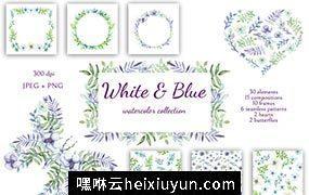 柔和的紫罗兰花卉系列水彩剪贴画素材合集 White and Blue
