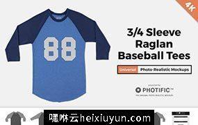 中袖圆领T恤样机34-Sleeve-Raglan-Shirt-Mockups