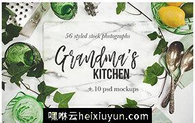 怀旧风格厨房用品、家居装饰素材Grandma's Kitchen Photography Bundle #1420243