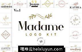 花卉植物主题的logo设计模版 Madame Logo #1373313