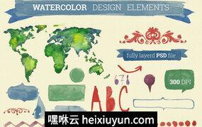 水彩设计元素手绘Watercolor Design Elements #26513