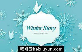 冬季剪纸贴画风格PSD海报Paper-Cut in winter#2018011507