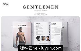男士时尚潮流发型杂志设计模板 GENTLEMEN Lookbook Template 3477390