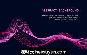 彩色动态概念波浪高清矢量背景图素材 Waves Abstract Backgrounds #1747308