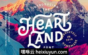 手工制作的字体Heartland Font #626521