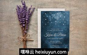 彩绘星夜婚礼邀请Painted Starry Night Wedding Invites #285568