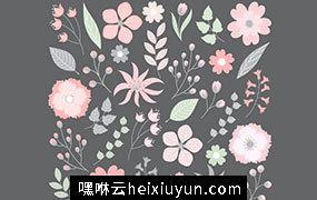 美丽浪漫的粉笔彩绘花卉树叶元素 Pastel Floral Set #140831