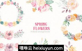 高品质手绘水彩花环花束PNG元素合集包 Spring Flowers- Watercolor set #2340882