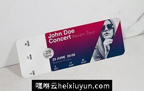 高端逼真质感的高品质音乐会演唱会门票ticket-music-mockup #349026