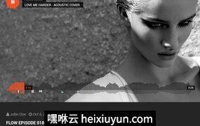 黑色时尚创意设计简洁现代的音乐和乐队宣传PSD网页模板Hugo 07