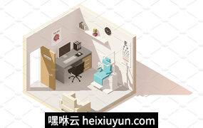 眼科医生办公室Vector isometric low poly ophthalmologist office #2229478