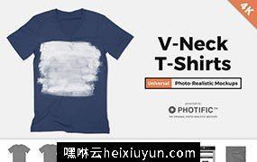 V领T恤贴图展示样机PSD模版 V-Neck T-Shirt Apparel Mockups #347234