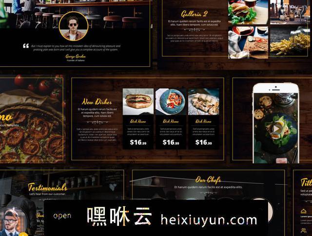 嘿咻云-一款意大利餐厅特色主题设计PPT演示模板 Italiano Restaurant Presentation