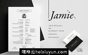 美国黑色系列畅销作品!高端简约商务简历求职信名片模板素材 の Resume/CV – Jamie