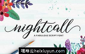 漂亮的现代书法英文字体 Nightcall Script #1396253