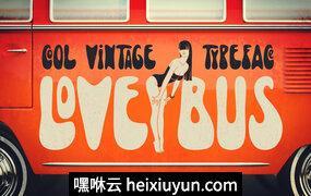 复古风格字体Lovebus Typeface -amp; Bonus #703031