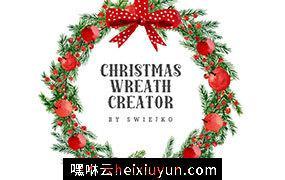 圣诞节花环装饰插画设计套装 Christmas Wreath Creator #993555