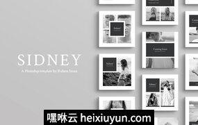 漂亮的图文内容设计社交媒体(朋友圈、微博)模板下载 Sidney Social Media Pack 159…