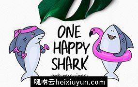 一直快乐可爱的鲨鱼矢量素材 One Happy Shark