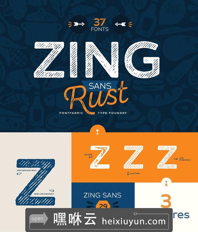 嘿咻云-高端英文字体Zing Sans Rust #1993493