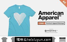 美国女式T恤4K高清服饰贴图展示样机模版 American Apparel 2102 Tee Mockups