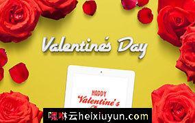 红色玫瑰花花瓣甜蜜情人节妇女节购物节元素
