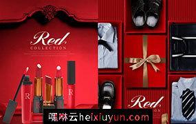 【中国红】2019新年红色礼物C4D场景模拟高分辨率合成海报素材合辑包