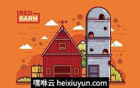 红色谷仓筒仓矢量插图Red Barn And Silo Vector#18061323