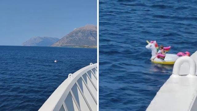 小女孩乘坐独角兽充气船漂向深海:渡船工人救下 险些酿成事故